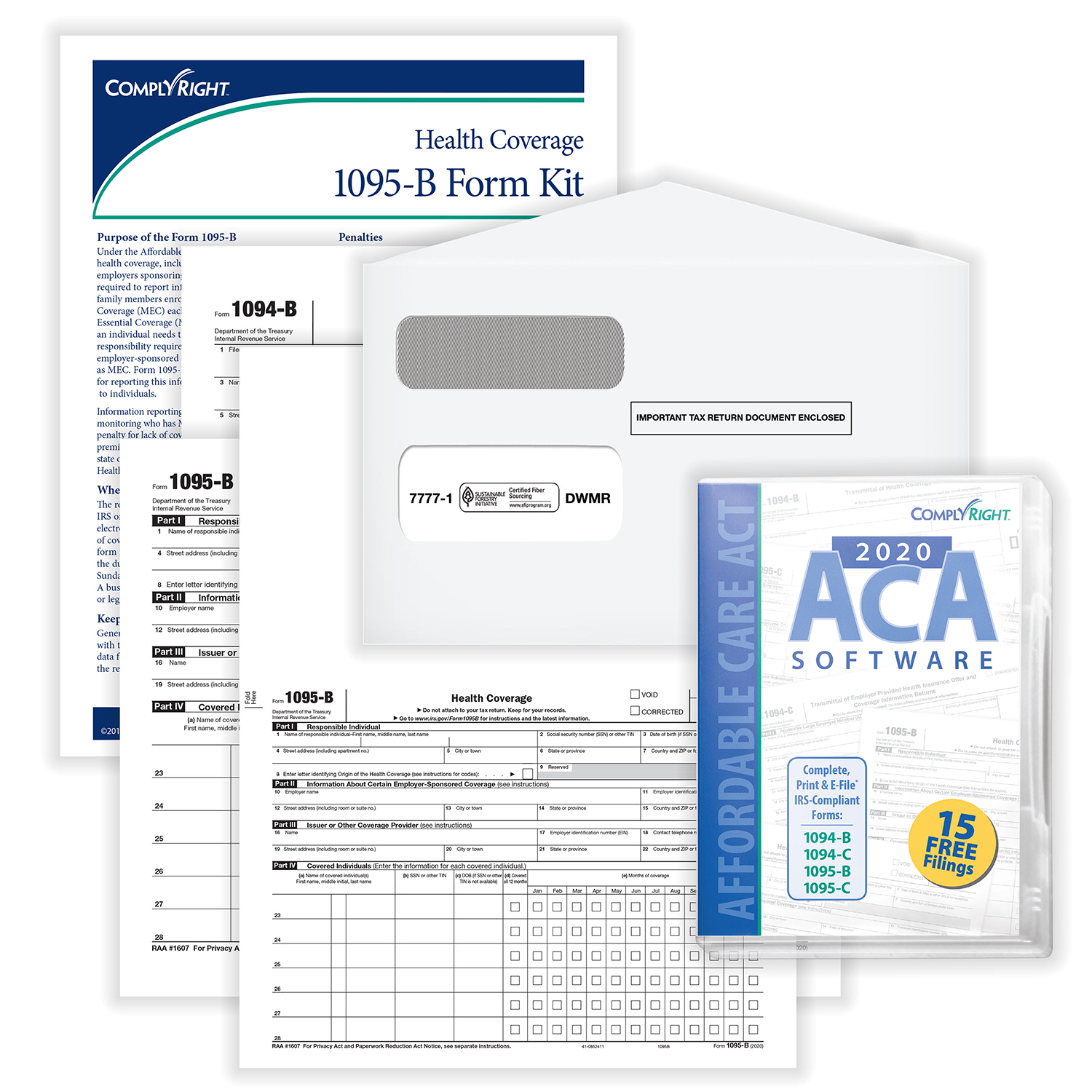 Picture of ACA Form 1095-B Kit w/Envelopes & Software – Pack of 50