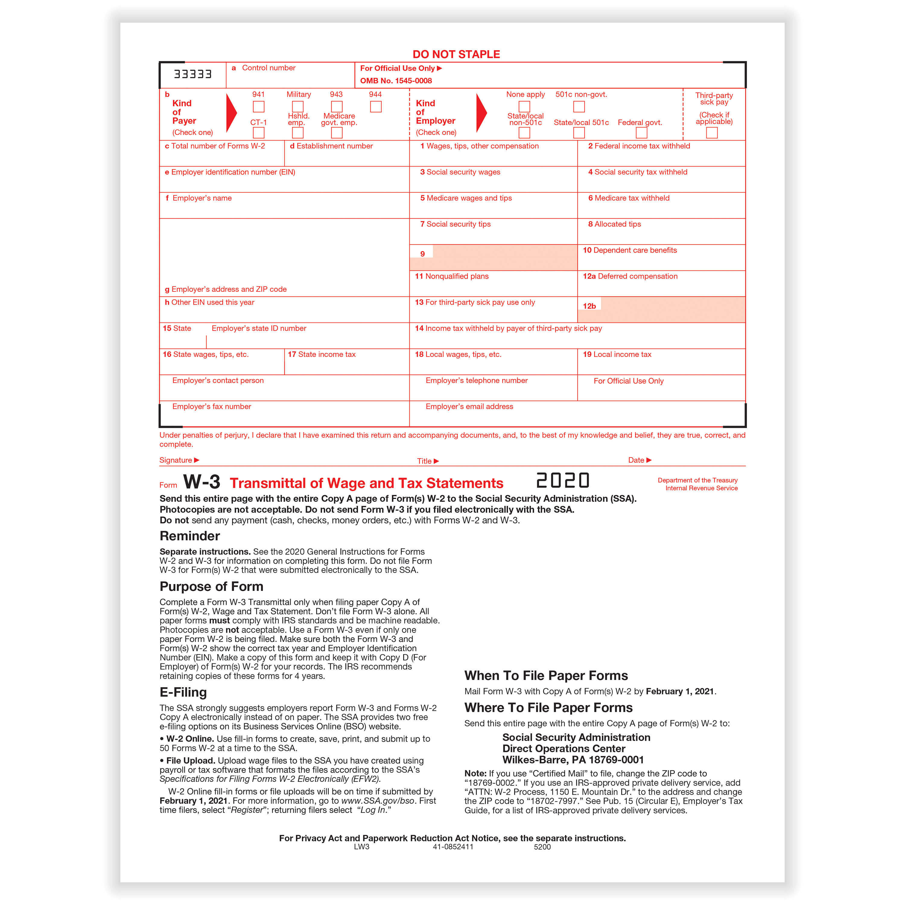 Picture of W-3 Transmittal of Income