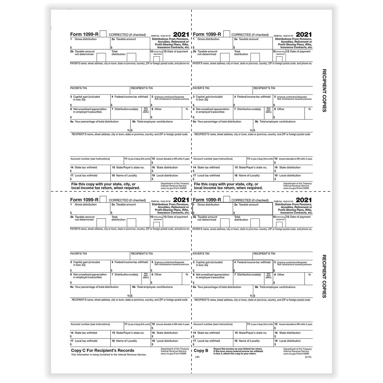 Picture of 1099-R 4-Up  Recipient Copies - Box Format