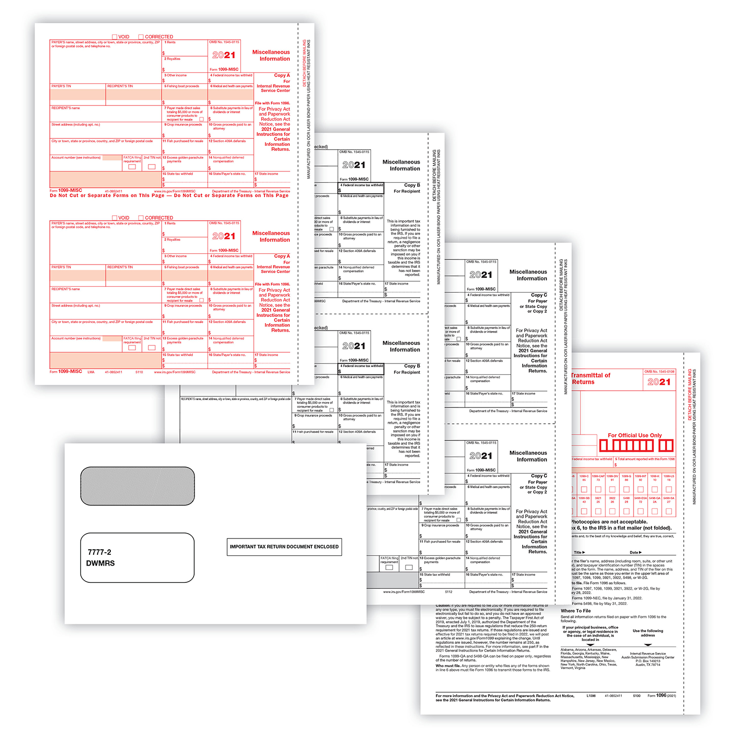 Picture of 1099-MISC 2-Up 4-Part Set w/ Self-Seal Envelopes