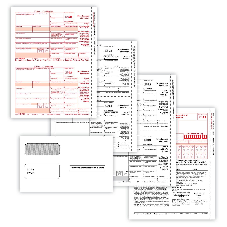 Picture of 1099-MISC 2-Up 5-Part Set w/Gummed Envelopes