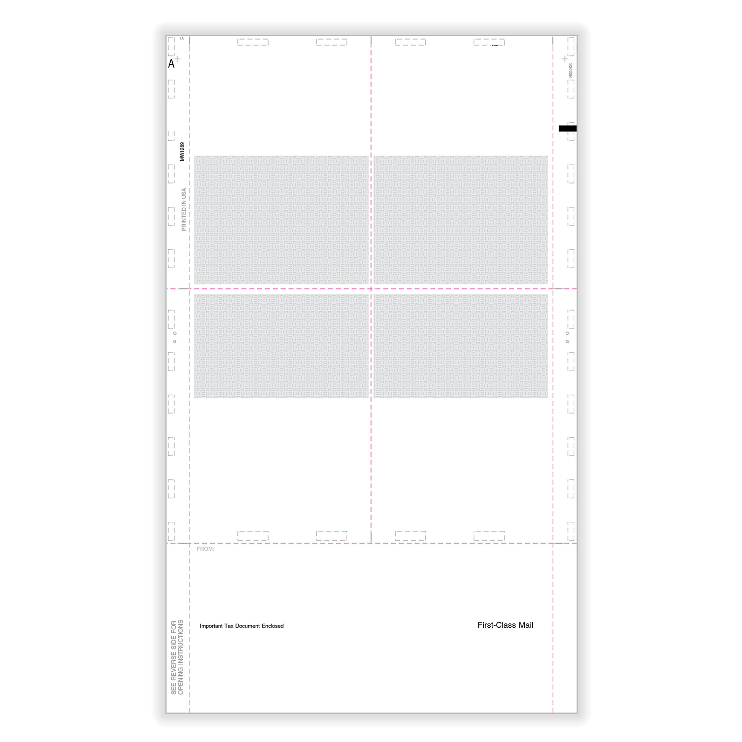 """Picture of W-2  4-Up Blank Pressure Seal 14"""" EZ-Fold with Printed Backer - Box"""