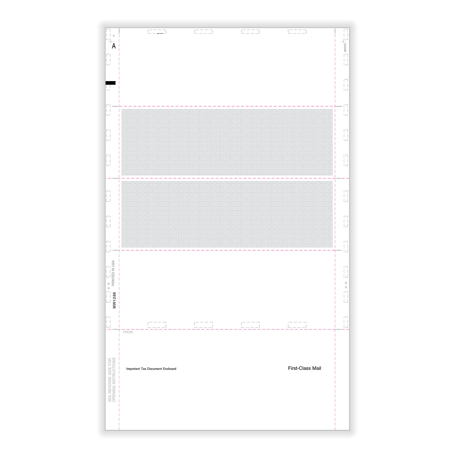 """Picture of W-2 4-Up Blank Pressure Seal 14"""" EZ-Fold with Printed Backer - Horizontal"""