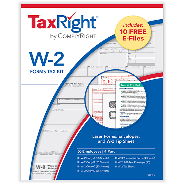 Picture of TaxRight W-2 4-Part Laser Kit + Envelope