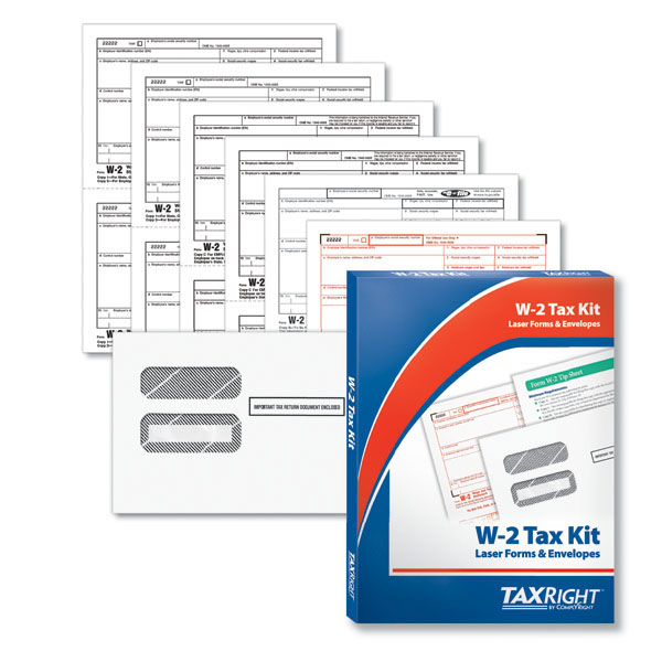 Picture of TaxRight W-2 6-Part Laser Kit + Envelope