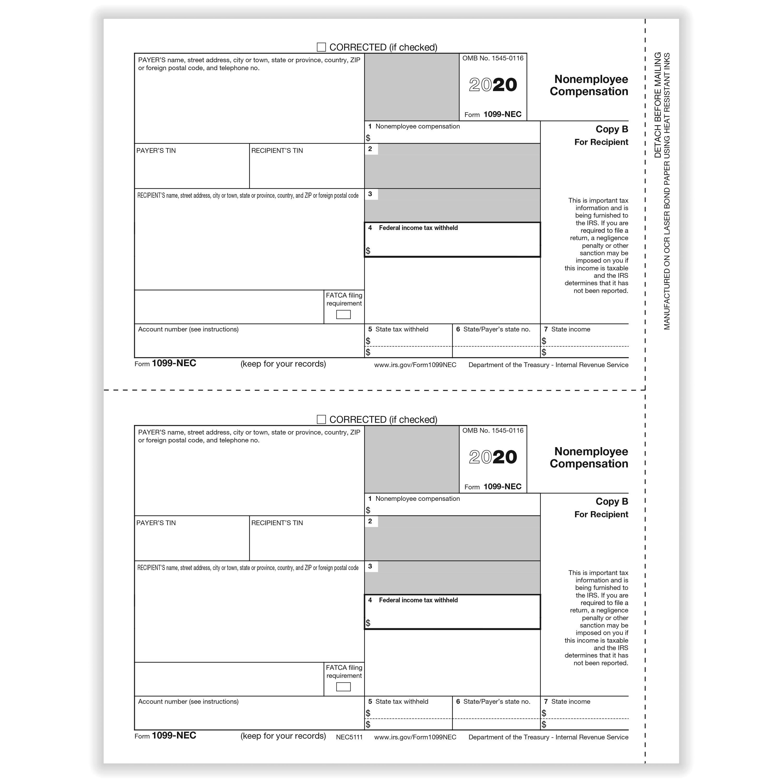 Picture of 1099-NEC 2-Up Individual Recipient Copy B