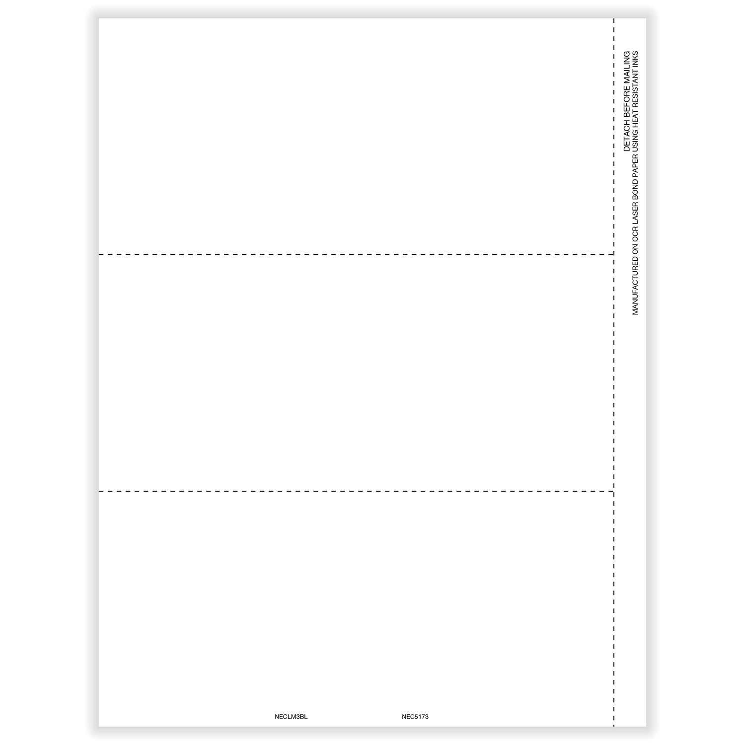 Picture of 1099-NEC 3-Up Blank  for Copies B and C with Printed Back - Horizontal