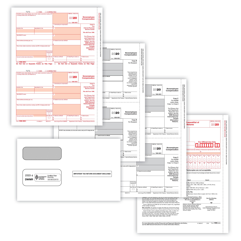 Picture of 1099-NEC 2-Up 4-Part Set w/Gummed Envelopes