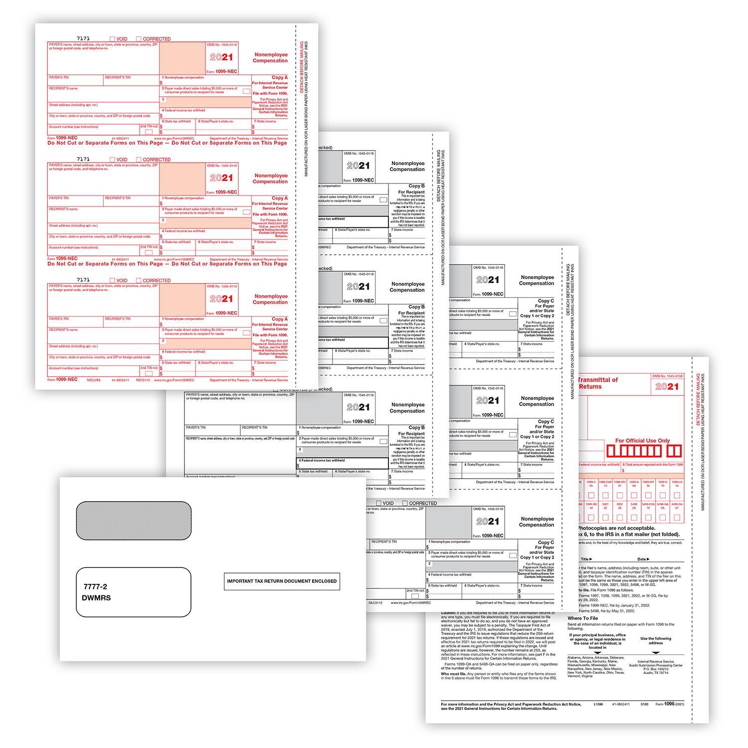Picture of 1099-NEC 3-Up 4-Part Set with  Self-Seal Envelopes