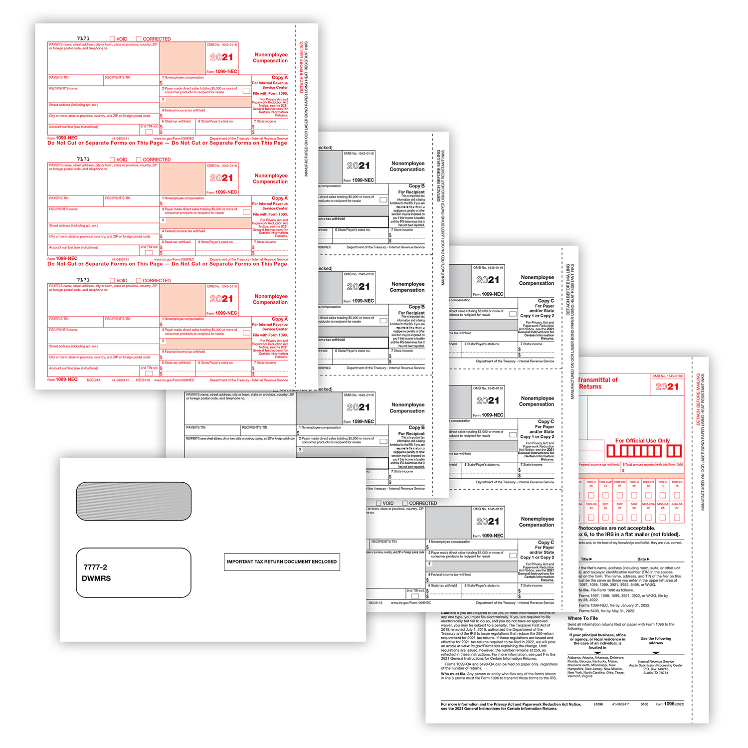 Picture of 1099-NEC 2-Up 4-Part Set w/ Self-Seal Envelopes