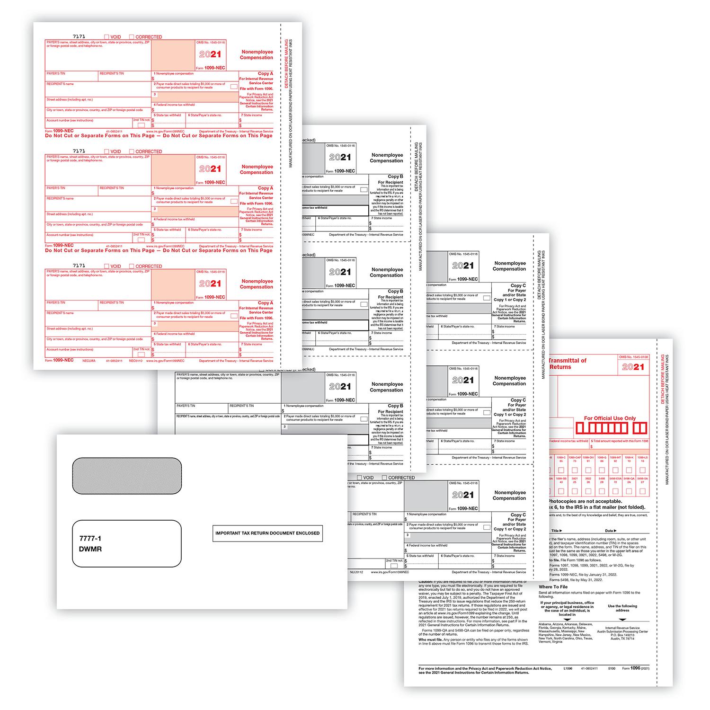 Picture of 1099-NEC 2-Up 3-Part Set w/ Gummed Envelopes