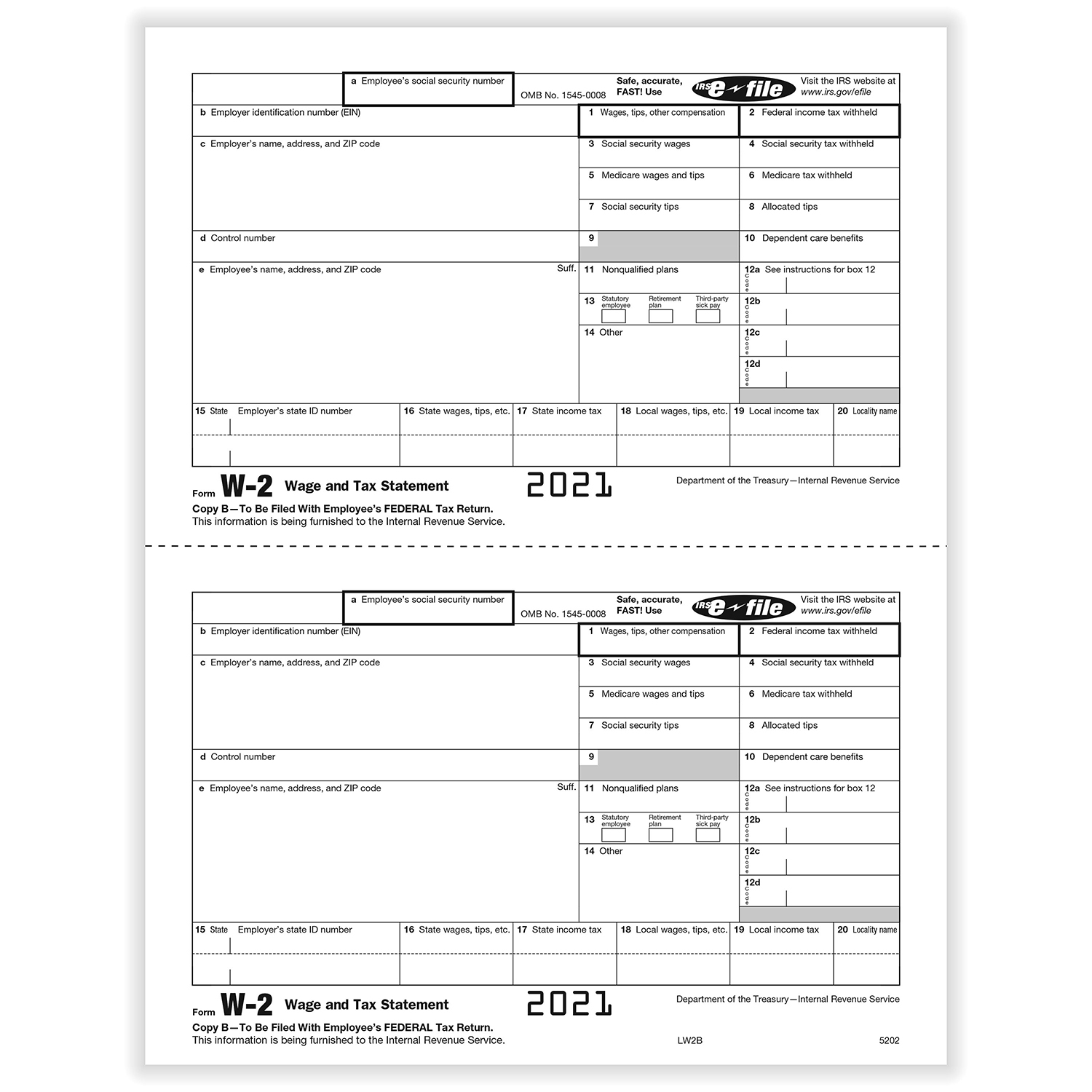 Picture of W-2 2-Up Employee IRS Federal Copy B