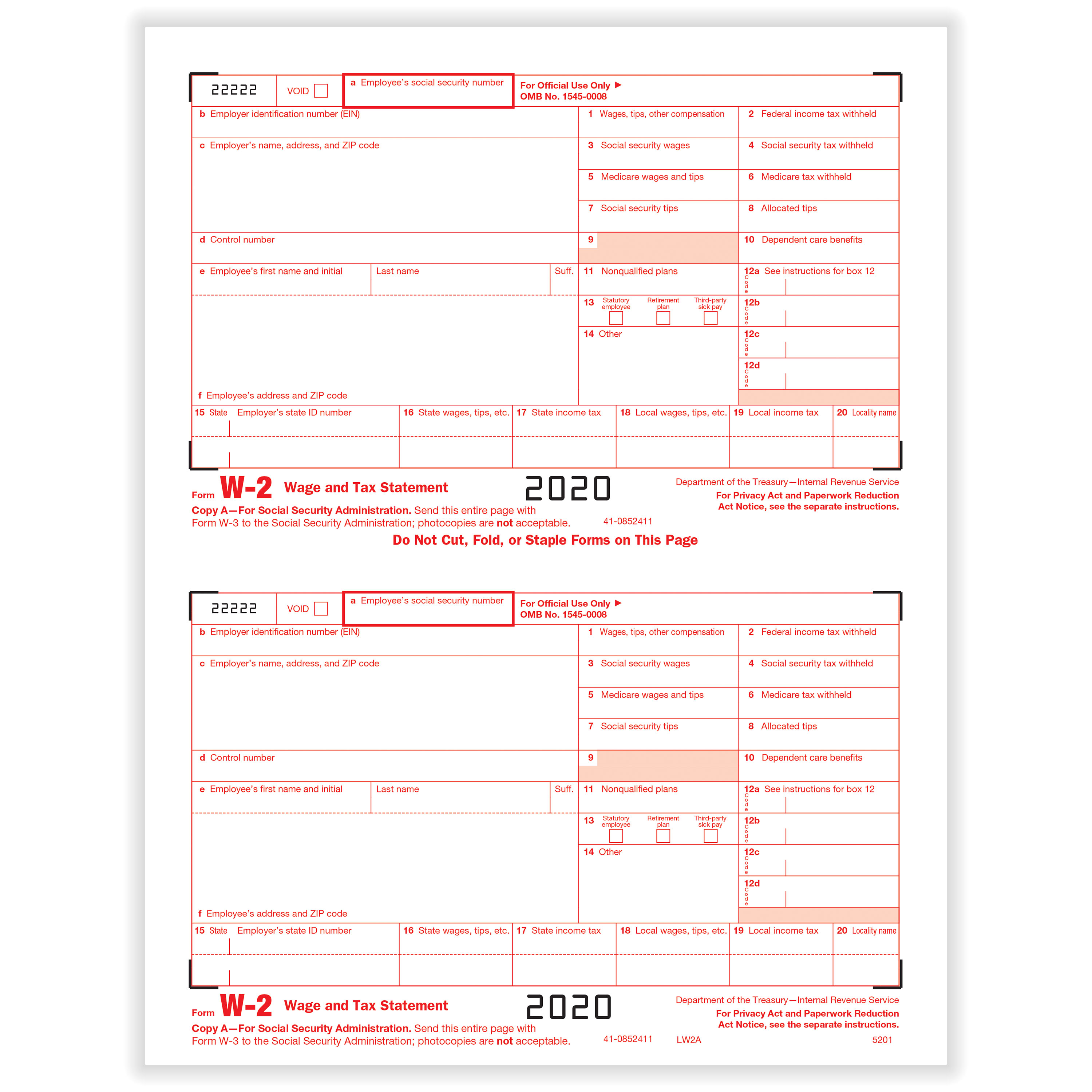 Picture of W-2 2-Up Federal IRS Copy A
