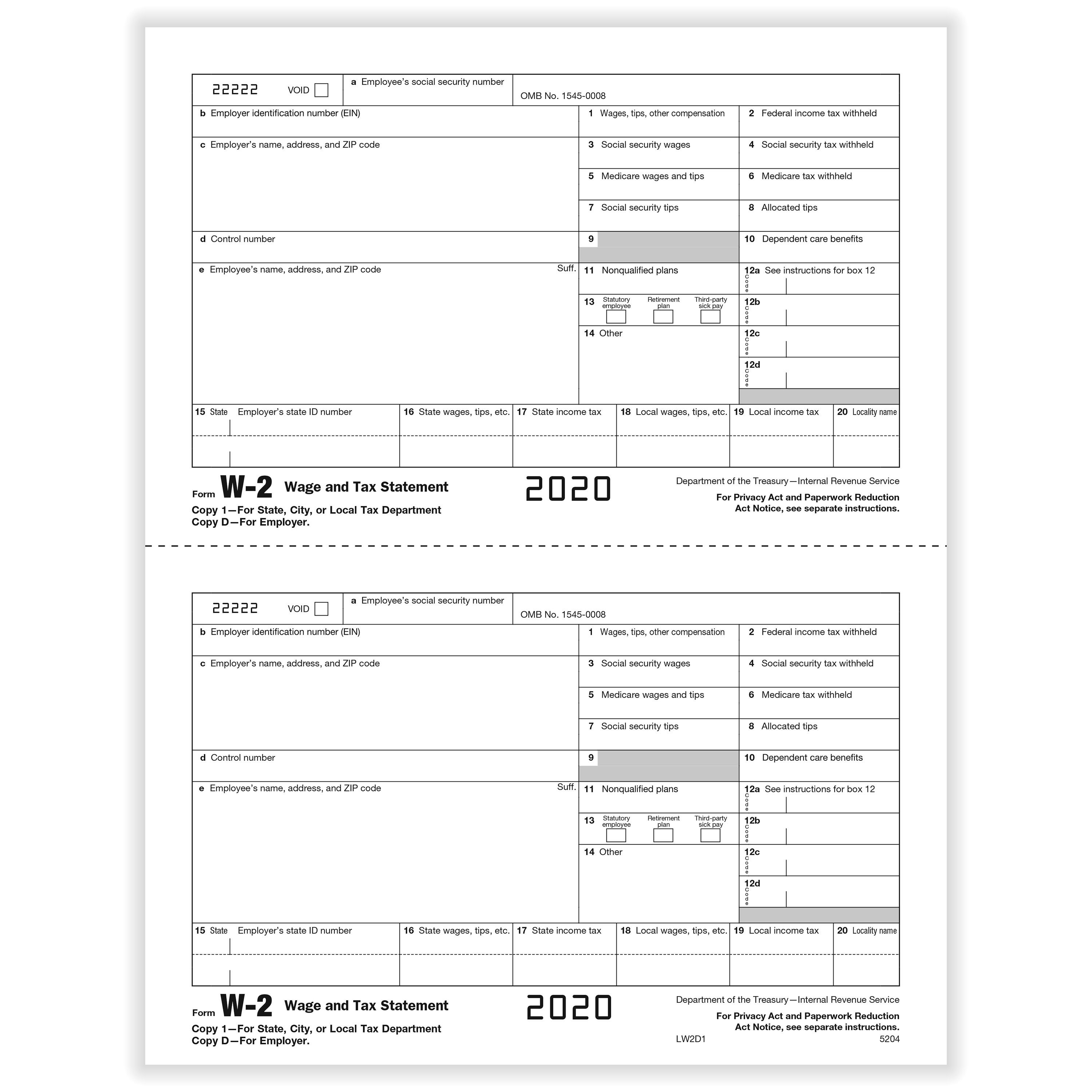 Picture of W-2 2-Up Employer Copies D and/or State, City, Local