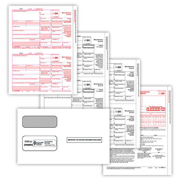 Picture of 1099-MISC 2-Up 4-Part Form + Envelopes